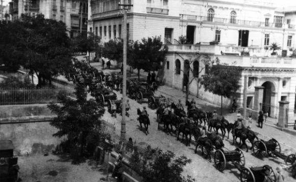 British procession through the streets of Baku